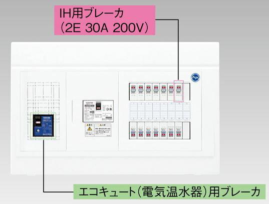 『カード対応OK!』●β東芝 電設資材【TFNPB3E6-222TL3B】扉なし・機能付 エコキュート(電気温水器)+IH用(主幹60A)