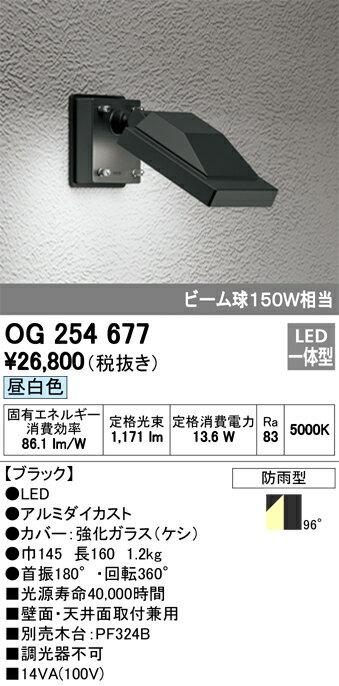 βオーデリック/ODELIC エクステリア 投光器【OG254677】LED一体型 昼白色 ブラック 防雨型