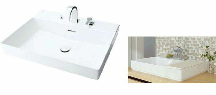 INAX/LIXIL 角形洗面器 ベッセル式【YL-A401SYACNB(C)V】(ワイドスクエアタイプ) 寒冷地 シングルレバー混合水栓(キュビア) 床排水(Sトラップ) 床給水