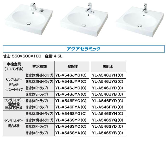 INAX/LIXIL 角形洗面器 ベッセル式【YL-A546SYQ(C)】(オーバルタイプ) シングルレバー混合水栓 床排水(ボトルトラップ) 床給水