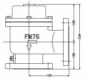 『カード対応OK!』FMバルブ製作所【FMバルブ 1型 75A】(アングル型) 取付タイプ:フランジ型 本体材質:FCD450