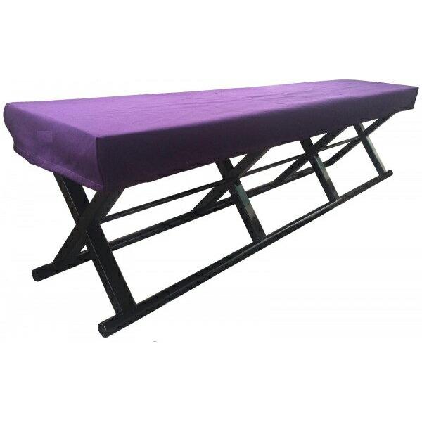【代引不可】鈴木木工所 4人掛角椅子(胡床型) 紫覆布付き 黒「他の商品と同梱不可」