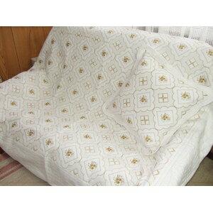 ◇刺繍キルト マルチカバー 200X270cm※他の商品と同梱不可