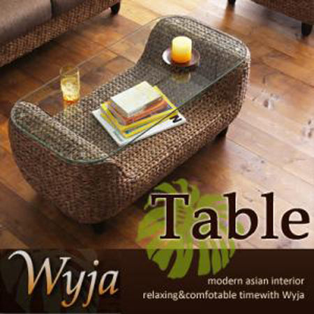 ローテーブル Wyja ウィージャ 幅100 ウォーターヒヤシンス  リビングテーブル ローテーブル コーヒーテーブル ガラステーブル アジアン ガラス アジアンリゾート アジアン家具 インテリア おしゃれ テーブル 机 台 40100622