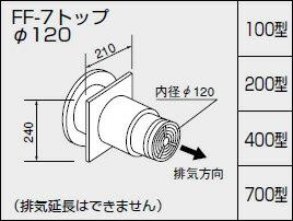 【0703512】ノーリツ 給湯器 関連部材 給排気トップ(2重管方式及び2本管方式) FF-7トップ φ120 200型【RCP】