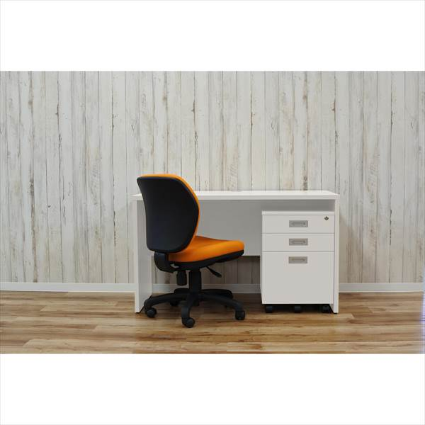 【代引不可】アール・エフ・ヤマカワ:(SET)デスクセット 1人用 ホワイト×オレンジ RFPLD-1260W-FST-OR