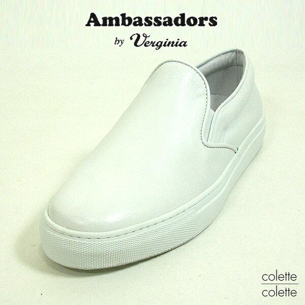 Amb Ambassadors アンバサダーズ バイ バージニア AMB メンズMENS( Ambassadors by Verginia ) アンバサダーズ スニーカー  ローカット レザースニーカー  ホワイト【正規品】 Ambassadors Amb( アンバサダーズ ) スニーカー