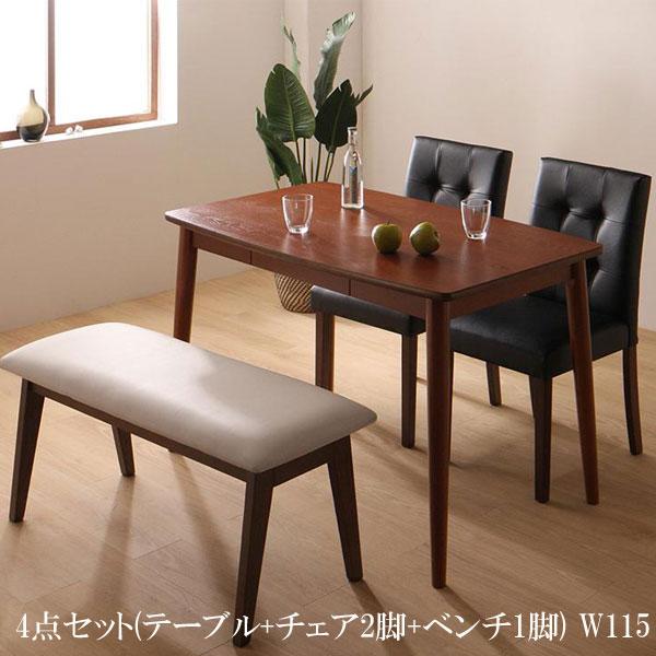送料無料 ダイニングテーブルセット 4点 PVCレザー ダイニング ファシオ 4点セット(テーブル+チェア2脚+ベンチ1脚) W115