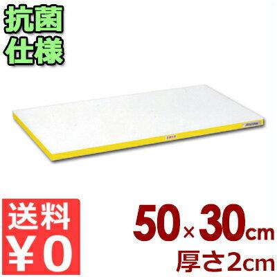 【送料無料】業務用まな板 抗菌ポリエチレン「かるがる」まな板 カラーライン入り SDK500×300×20 小口イエローライン入り/カッティングボード 軽い 軽量 色分け 清潔 衛生