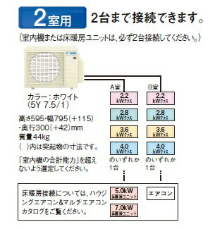 【最安値挑戦中!最大17倍】マルチエアコン ダイキン 2M60RAV システムマルチ 室外機のみ 2室用 6.0kW 単相200V [♪▲]