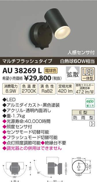 【最安値挑戦中!最大27倍】照明器具 コイズミ照明 AU38269L アウトドアスポットライト 人感センサ付 マルチフラッシュタイプ 白熱球60W相当 LED一体型 電球色 [(^^)]