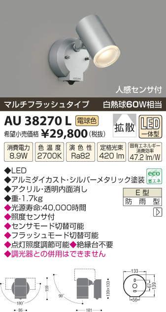 【最安値挑戦中!最大27倍】照明器具 コイズミ照明 AU38270L アウトドアスポットライト 人感センサ付 マルチフラッシュタイプ 白熱球60W相当 LED一体型 電球色 [(^^)]