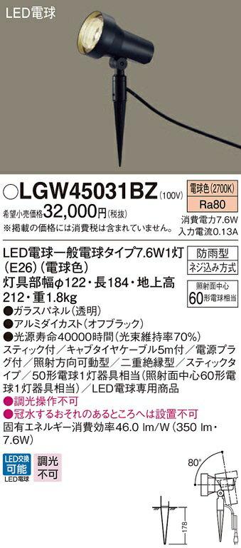 【最安値挑戦中!最大17倍】パナソニック LGW45031BZ 屋外用ライト スポットライト 地中埋込型 LED(電球色) 防雨型 パネル付型/スティック付 [∽]