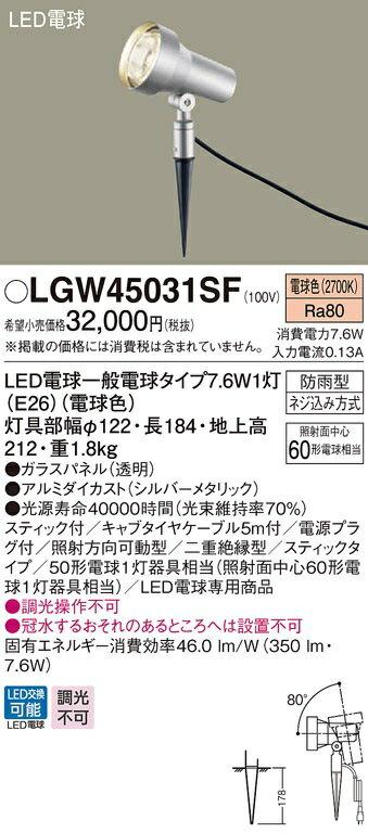 【最安値挑戦中!最大17倍】パナソニック LGW45031SF 屋外用ライト スポットライト 地中埋込型 LED(電球色) 防雨型 パネル付型/スティック付 [∽]
