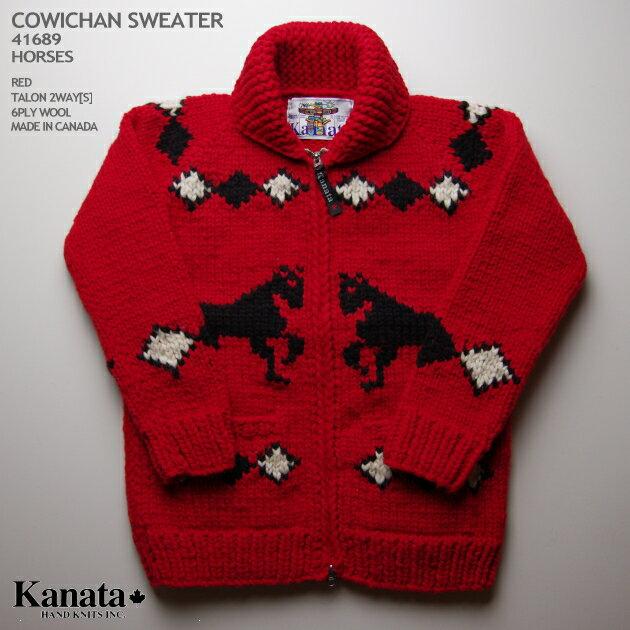 KANATA カウチンセーター|カナダ製|KA41689 HORSES SWEATER(ホース・セーター)|レッド|メンズ|ウール100%(Wool100%)|6PLY WOOL(6本撚り)|フルオープン|TALON 2WAY[S] TALON製ジップアップ(5mm)|長袖|セーター ニット