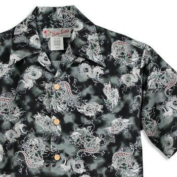 人気のあるアウトレット アロハシャツ・フラケイキ ハワイアン(HULA KEIKI HAWAIIAN)HK-101 little dragon(リトル・ドラゴン)|ブラック|メンズ|hawaii cotton100%(コットン100%)|開襟|フルオープン|半袖|アロハタワー(アロハシャツ販売)