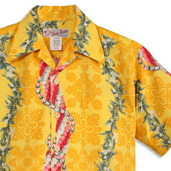 Free アロハシャツ・フラケイキ ハワイアン(HULA KEIKI HAWAIIAN)HK-20104 flower-lei(フラワー・レイ)|イエロー|メンズ|hawaii cotton100%(コットン100%)|開襟|フルオープン|半袖|アロハタワー(アロハシャツ販売)