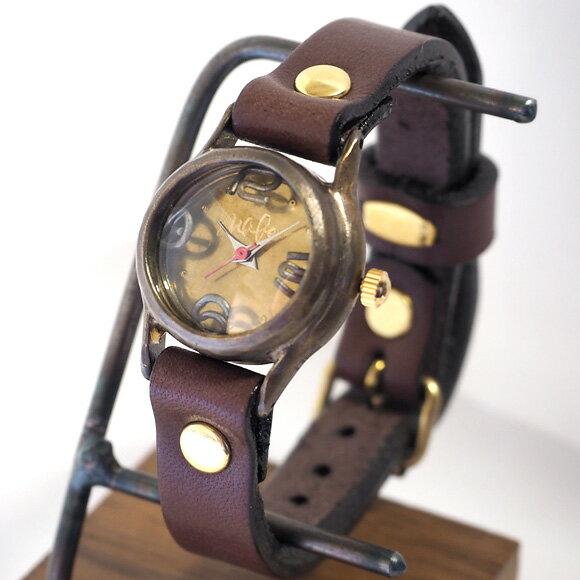 """渡辺工房 手作り腕時計""""Lady-on-Time-B""""レディースブラス [NW-305B] 時計作家・渡辺正明さんのハンドメイドウォッチ ハンドメイド腕時計 手作り時計 本革ベルト 真鍮 アンティーク調 レトロ アナログ 日本製 刻印・名入れ無料"""