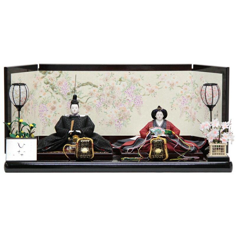 雛人形 親王平飾り 十番(2人) 幅84cm  183to1148 名匠 清水久遊作ひいな 印伝衣装 名匠 雛祭り