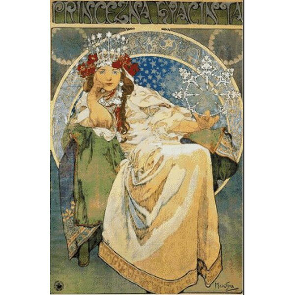 Cross Stitch Collectibles - ミュシャ(Mucha) - ヒヤシンス姫(Princess Hyacinth, 1911)  14ct クロスステッチキット