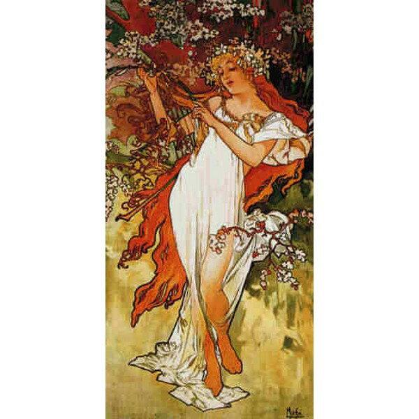 Cross Stitch Collectibles - ミュシャ(Mucha) -春 Spring 1896 18ct クロスステッチキット