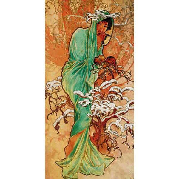 Cross Stitch Collectibles - ミュシャ(Mucha) -冬Winter 1896 14ct クロスステッチキット