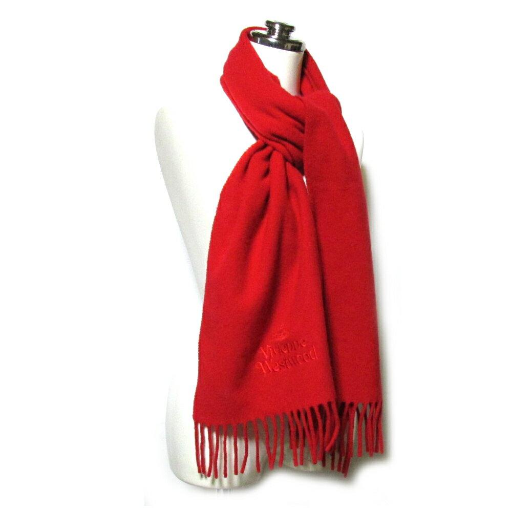 VivienneWestwood ヴィヴィアンウエストウッド イタリア製オーブ刺繍ウールマフラー (レッド 赤色 ショール) 099194 【中古】