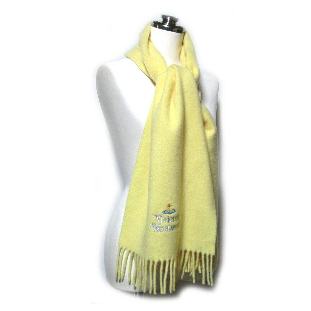 VivienneWestwood ヴィヴィアンウエストウッド イタリア製オーブ刺繍ウールマフラー (イエロー 黄色 ショール) 099195 【中古】