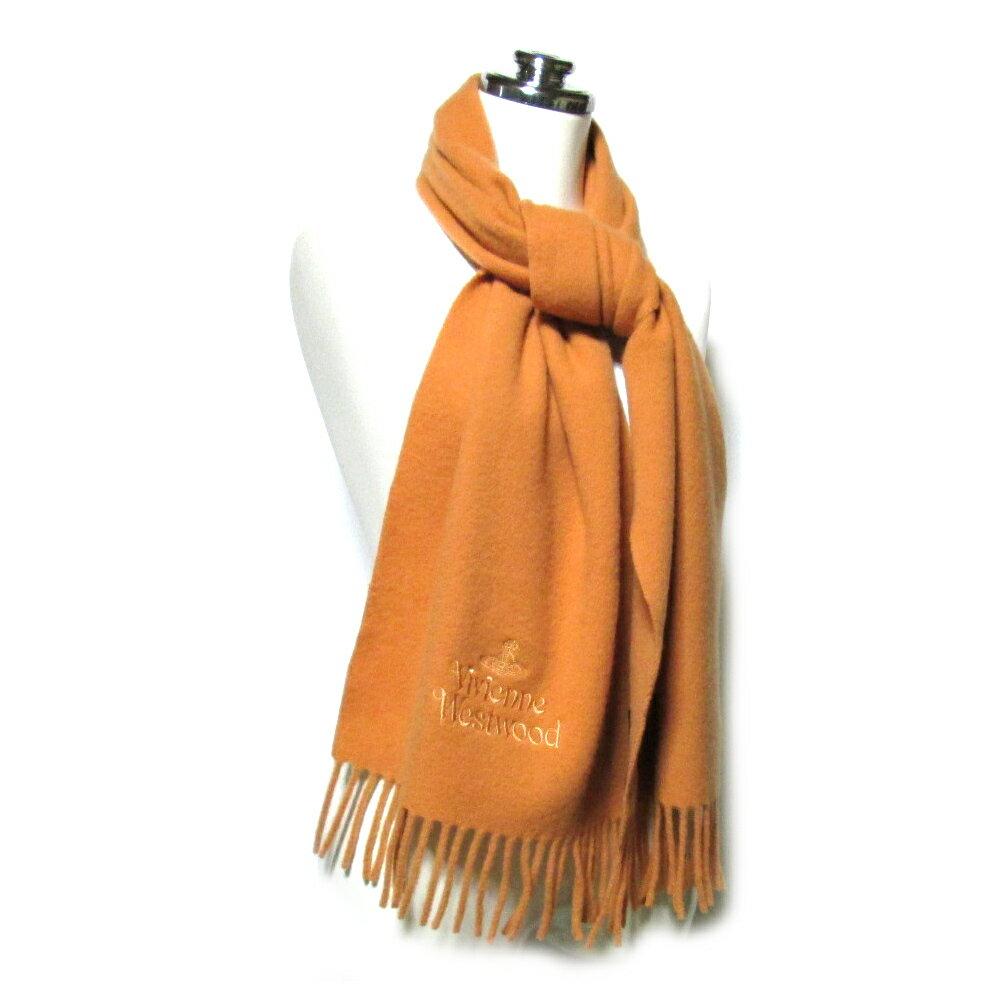 VivienneWestwood ヴィヴィアンウエストウッド イタリア製オーブ刺繍ウールマフラー (ダークオレンジ ショール) 099196 【中古】