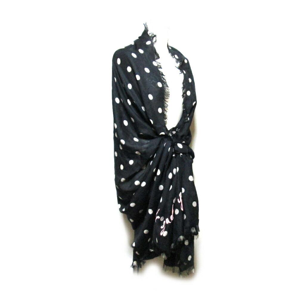 美品 kate spade new york ケイトスペード ニューヨーク ワイドドットショール (黒 スカーフ マフラー) 104275 【中古】