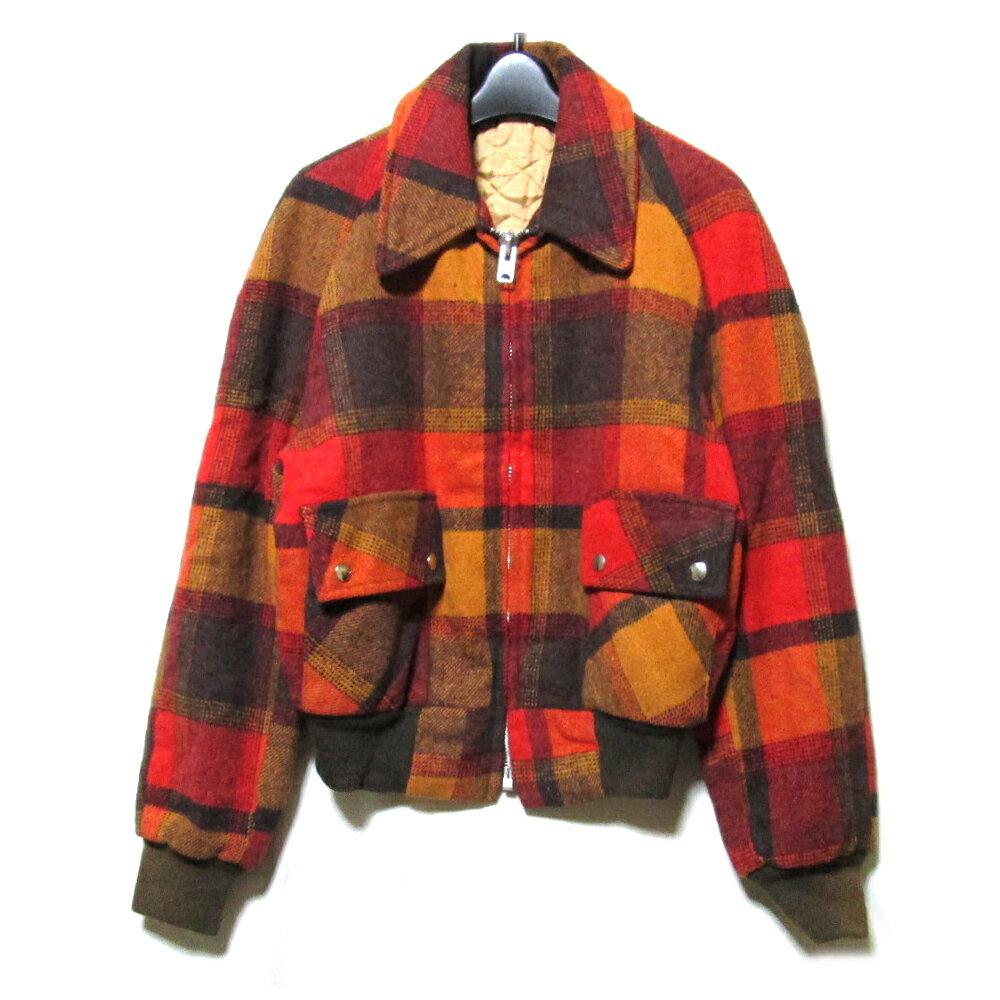 Vintage USA ヴィンテージ タータンチェックツイードジャケット (ブルゾン フルジップ TALON タロンジップ) 109624 【中古】