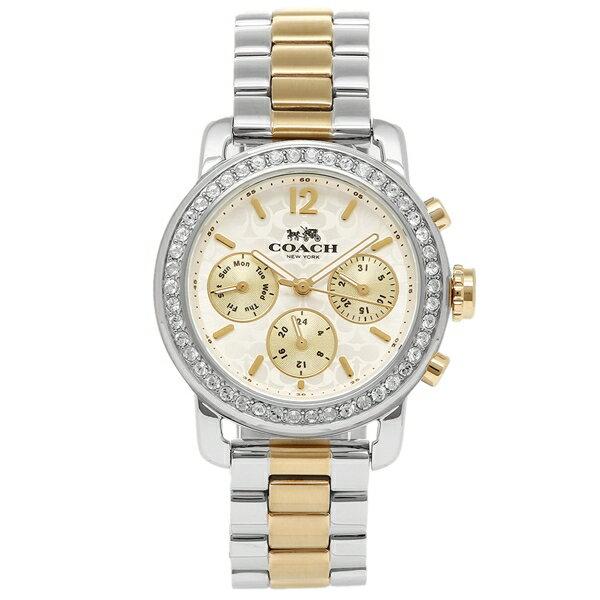【期間限定ポイント10倍】COACH 腕時計 コーチ 14502372 シルバー ホワイト イエローゴールド
