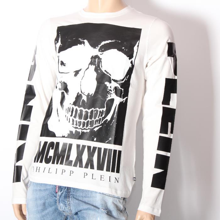 【売れ筋】PHILIPP PLEIN フィリッププレイン 長袖Tシャツ HM347293 WHITE ホワイト スカル メンズ 【新品・未使用・正規品】