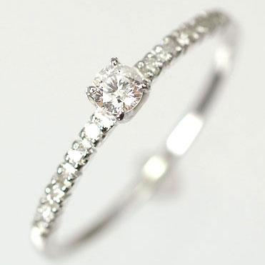 ダイヤモンド リング 天然ダイヤモンド0.15ct×ホワイトゴールド エレガンスリング(指輪)