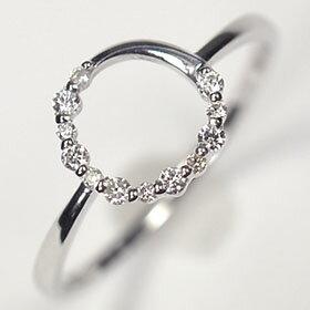 ダイヤモンド リング スウィートテン K18WG・ダイヤ0.1ct アニバーサリー10リング  (指輪)【結婚10周年記念】【スウィート10石ダイヤモンド】ダイヤモンド指輪