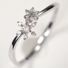 ダイヤモンド リング K18WG・ダイヤ0.1ct アニバーサリー10リング (指輪)【結婚10周年記念】【スウィート10石ダイヤモンド】ダイヤモンド指輪