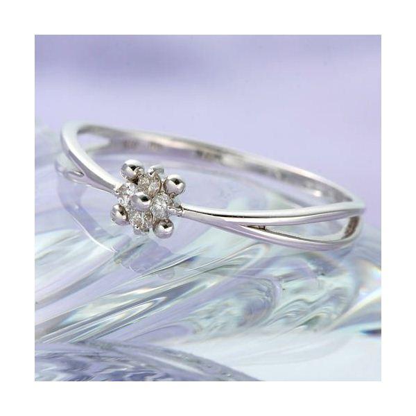 【ポイント10倍】WGダイヤリング 指輪 フラワーリング 9号