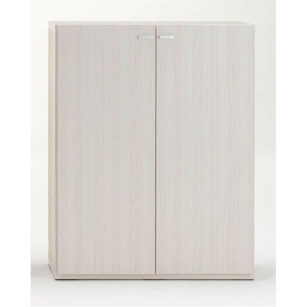 【ポイント10倍】フナモコ リビングシェルフ 扉付き 【幅90×高さ113.8cm】 ホワイトウッド KFS-90【完成品】 日本製