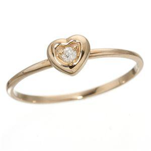 【ポイント10倍】K10ハートダイヤリング 指輪 ピンクゴールド 17号