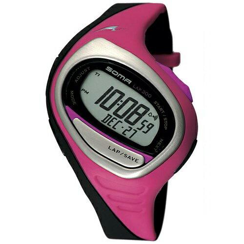 SOMA ソーマ ランニングウォッチ RunONE 300 MEDIUM ランワン ミディアムサイズ 腕時計 ピンク/ブラック DWJ02-0005【お取り寄せ商品】