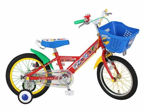 配送先関東限定 送料無料 子供用自転車 ダイヤブロック 16インチ 青 ブルー 適応身長101cm~119cm 補助輪付き かご付き 子供自転車 幼児 男の子 クリスマス