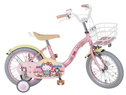 送料無料 子供用自転車 ハローキティ 16インチ 適応身長/101cm~119cm 補助輪付き かご付き 子供自転車 幼児 キティちゃん キティ クリスマス