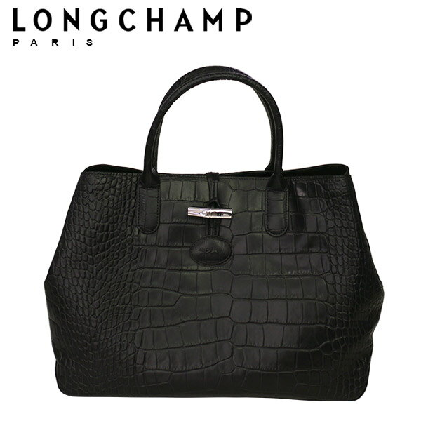 LONGCHAMP ロンシャン ロゾ 型押し(クロコ調)トートバッグ 1681 859 ブラック