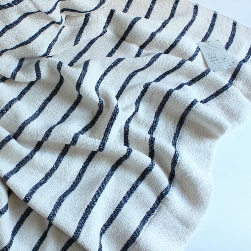 今治タオル コンテックス スロー&ブランケットImabari Towel Kontex  Throw & Blanketボーダー ネイビー