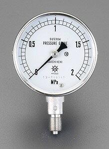 """エスコ ESCO  G 1/4""""/ 60mm/ 0-10MPa 圧力計(ステンレス製) EA729DJ-100 [I111101]"""