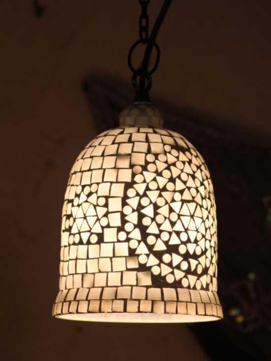 お呼ばれ インテリア照明 インド モザイクランプ ICTP2701 ホワイト