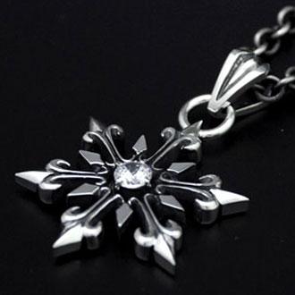 ペンダント ネックレス 送料無料 メンズ レディース 結晶 雪の結晶 シルバー ハンドメイド snowflake