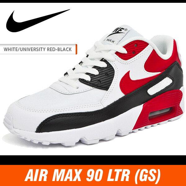 ナイキ スニーカー レディース エア マックス 90 LTR (GS) ホワイト/ユニバーシティレッド-ブラック NIKE AIR MAX 90 LTR (GS) WHITE/UNIVERSITY RED-BLACK 833412-107