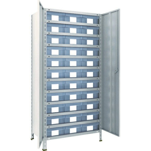 トラスコ中山 TRUSCO 軽量棚扉付 875X533X1800樹脂引出透明大X33 ネオグレ 63X-T812D11