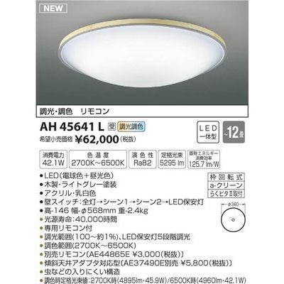 コイズミ シーリング(~12畳用) AH45641L